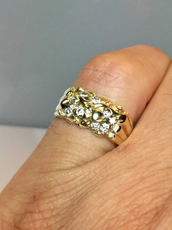 Vintage 10k Solid Gold Diamond Nugget Ring Pinky