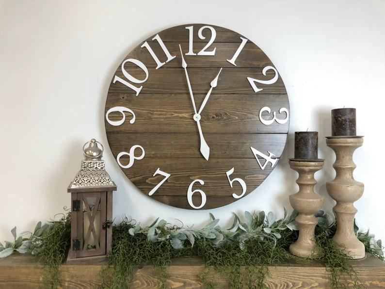 Big Wall Clock The Joey Standard Number Overlay Etsy