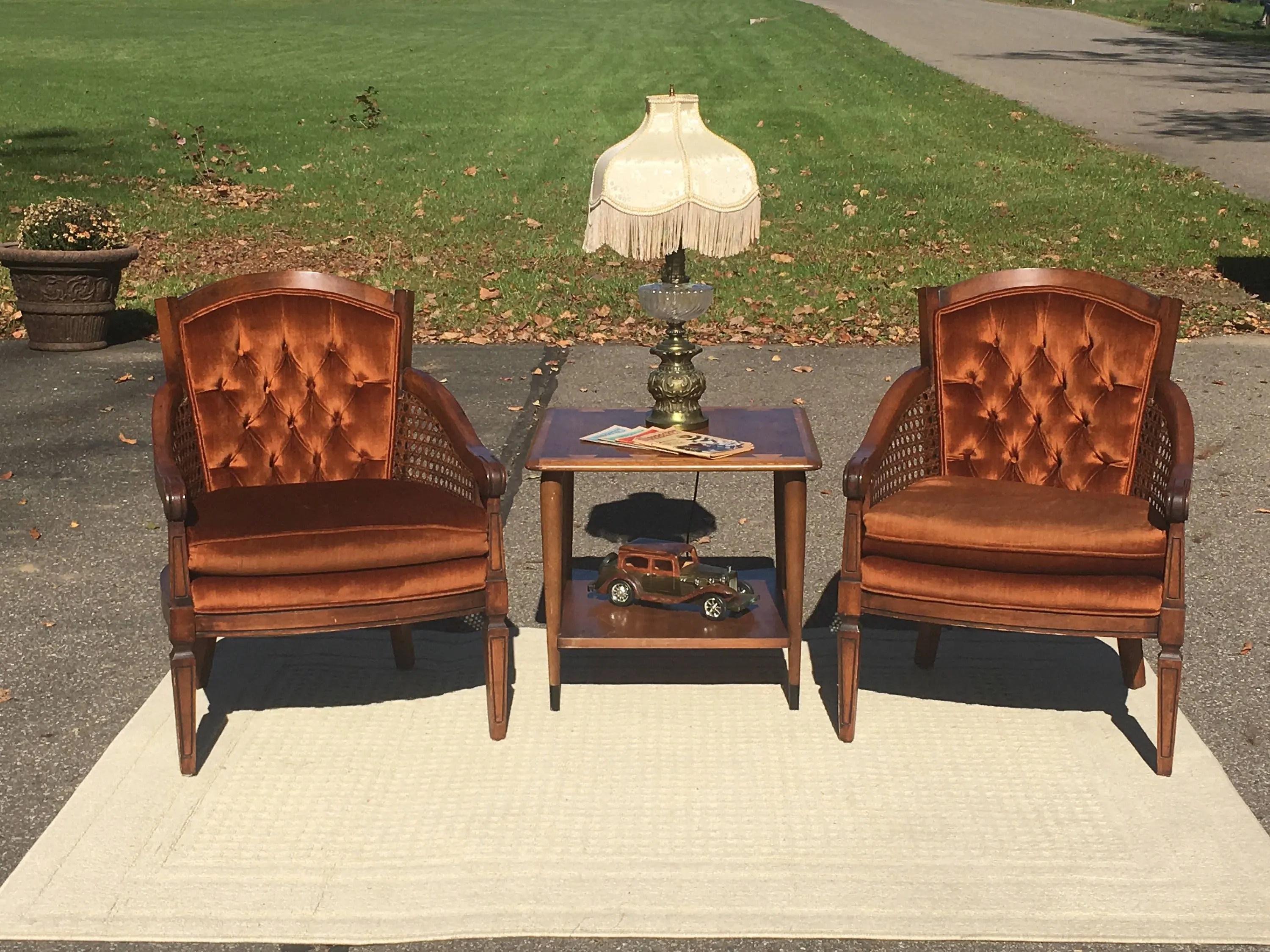 Vintage Accent Chair Vintage Rattan Velvet Chair Mid Century Furniture Brown Copper