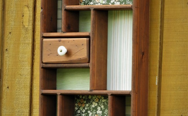 Vintage Wall Shelf Brown Green Wooden Decor Decorative
