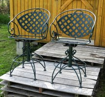 Vintage Meadowcraft Patio Chairs Green Steel Bar Stools