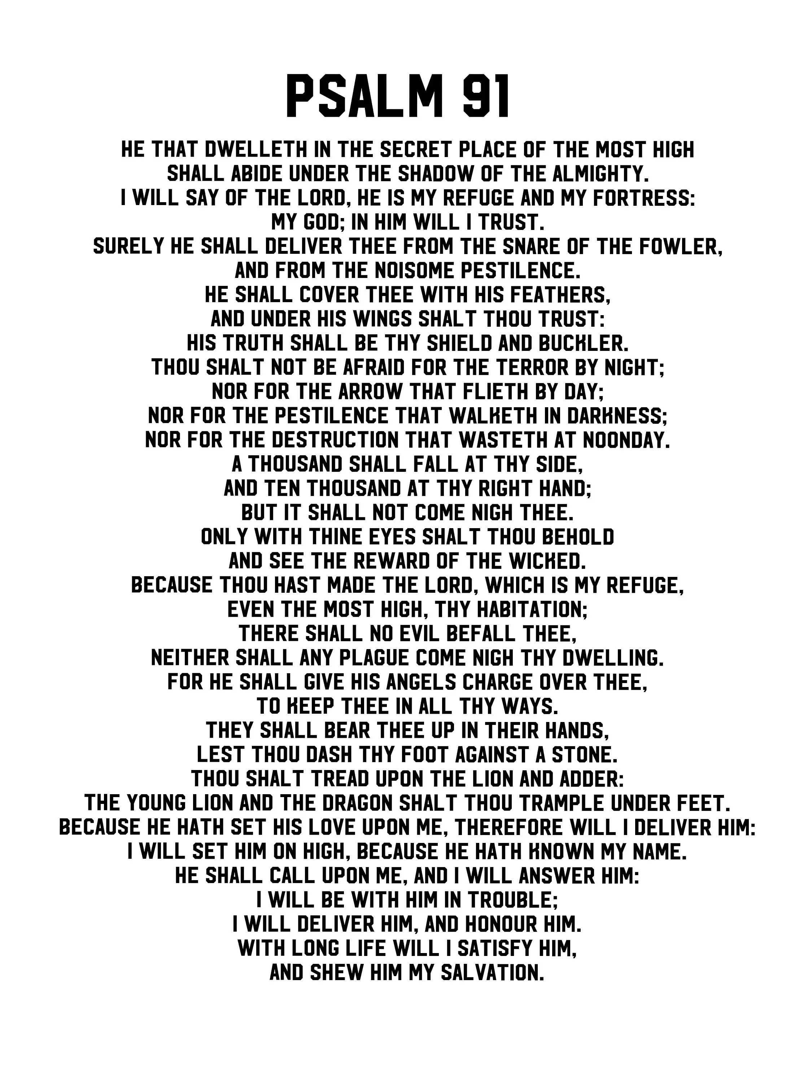 Psalm 91 Poster. Printable PDF gift psalm 91 prayer Card