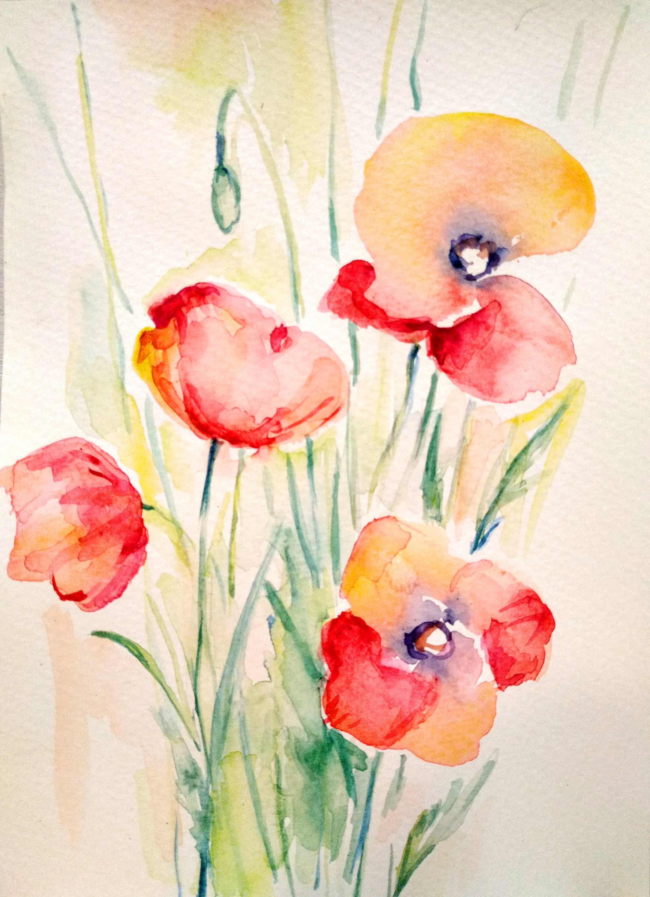 abstract watercolor flower painting