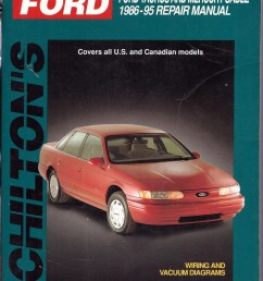 chilton s 1986 95 ford taurus mercury sable wiring and vacuum diagrams manual [ 794 x 1061 Pixel ]
