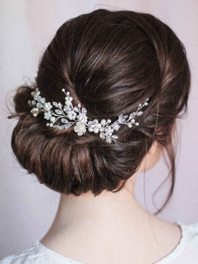 bridal hair vine wedding hair vine floral vine flower crystal decorated bridal hair vine low bun back headpiece hair comb pearl crystal comb