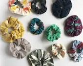 Organic Cotton Hair Scrunchies - Plastic free! Lots of fabric choices! Zero waste hair scrunchie!