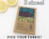 Organic cotton beeswax wrap.  Zero waste kitchen wrap 3 pack. Pick your fabrics. Large, medium, small wax wraps.  Sandwich & bread wraps.