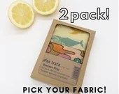 Organic cotton beeswax wrap 2 pack.  Pick your fabrics.  All-natural zero waste kitchen wrap.  Reusable, washable, compostable. Starter kit.
