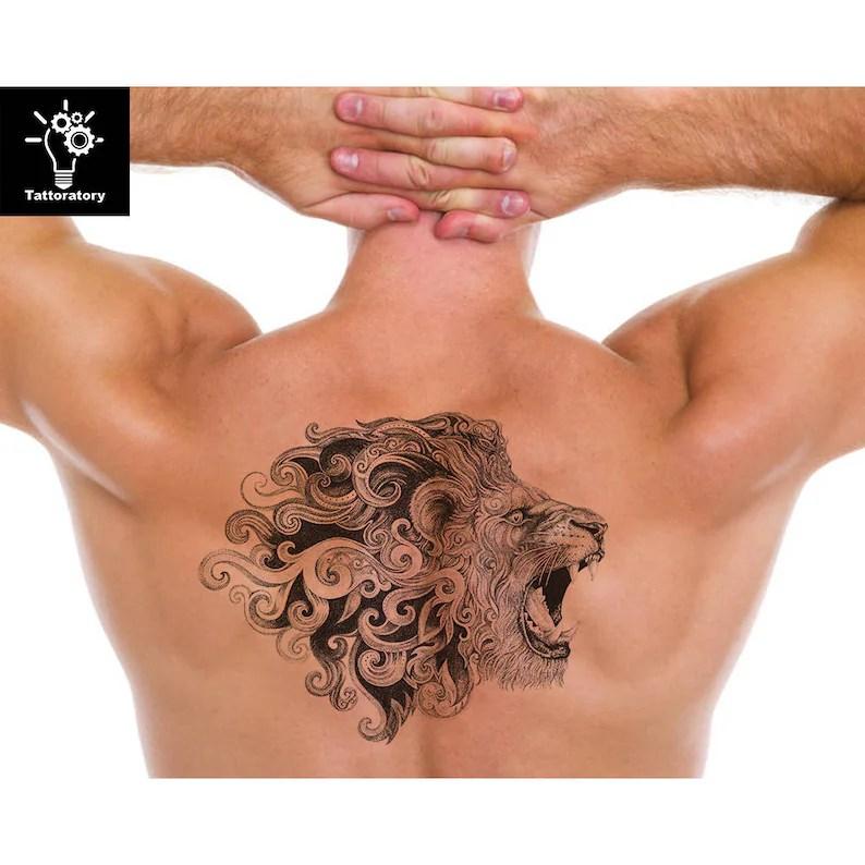 León León De Tatuaje Temporal Del Tatuaje León Tatuaje Falso Hombres Tatuaje Temporal Grande León Tatuaje Dotwork Tatuaje Tatuaje Espalda Pecho