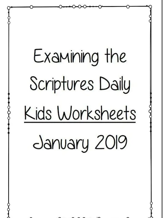 KIDS Examining the Scriptures Daily Personal Study Booklet