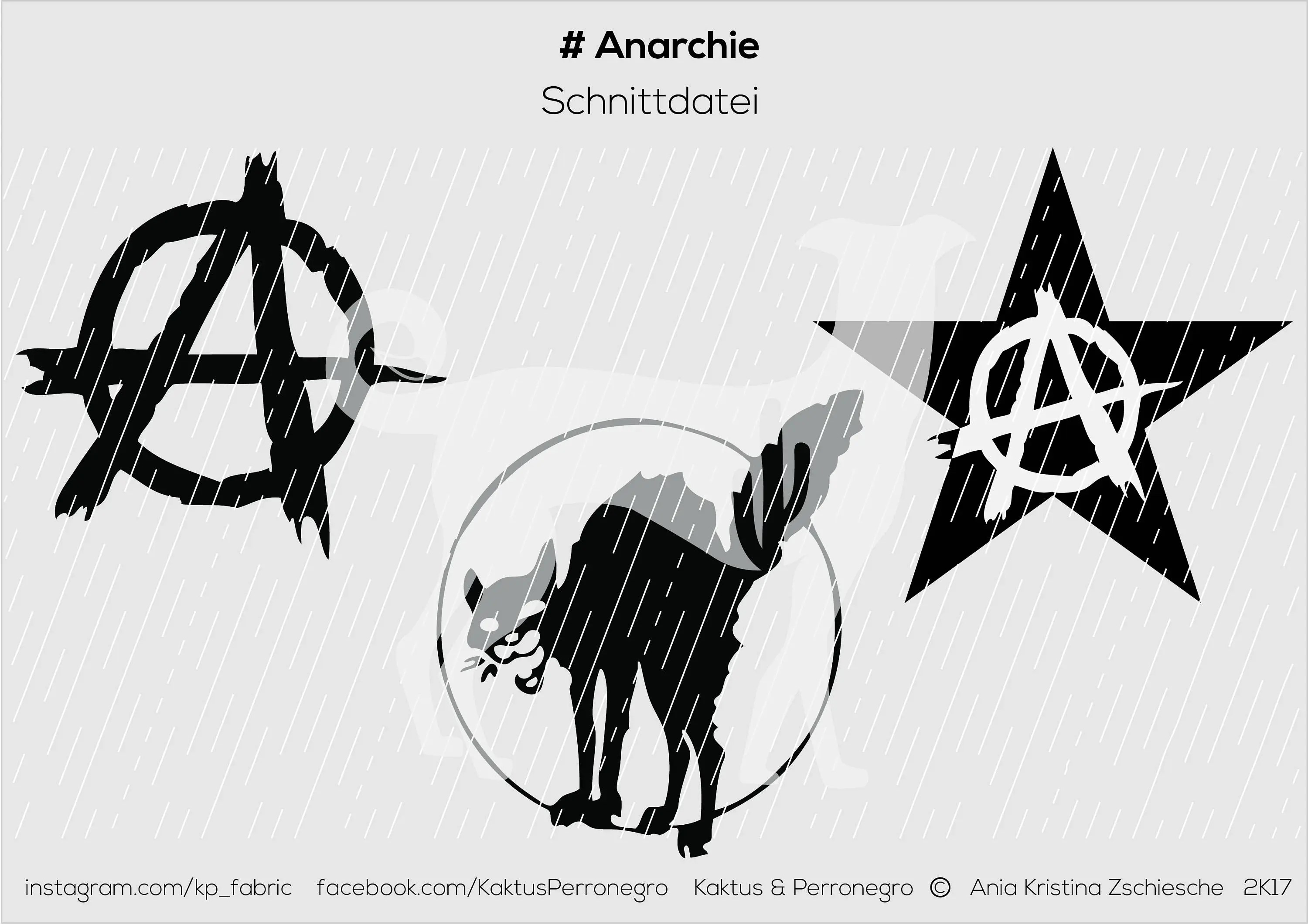 Plotter cut file SVG DXF with anarchy punk, skin, oi, for