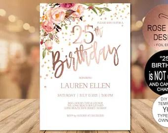 25th birthday invitations etsy