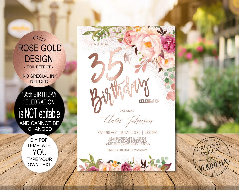 35th birthday invite etsy