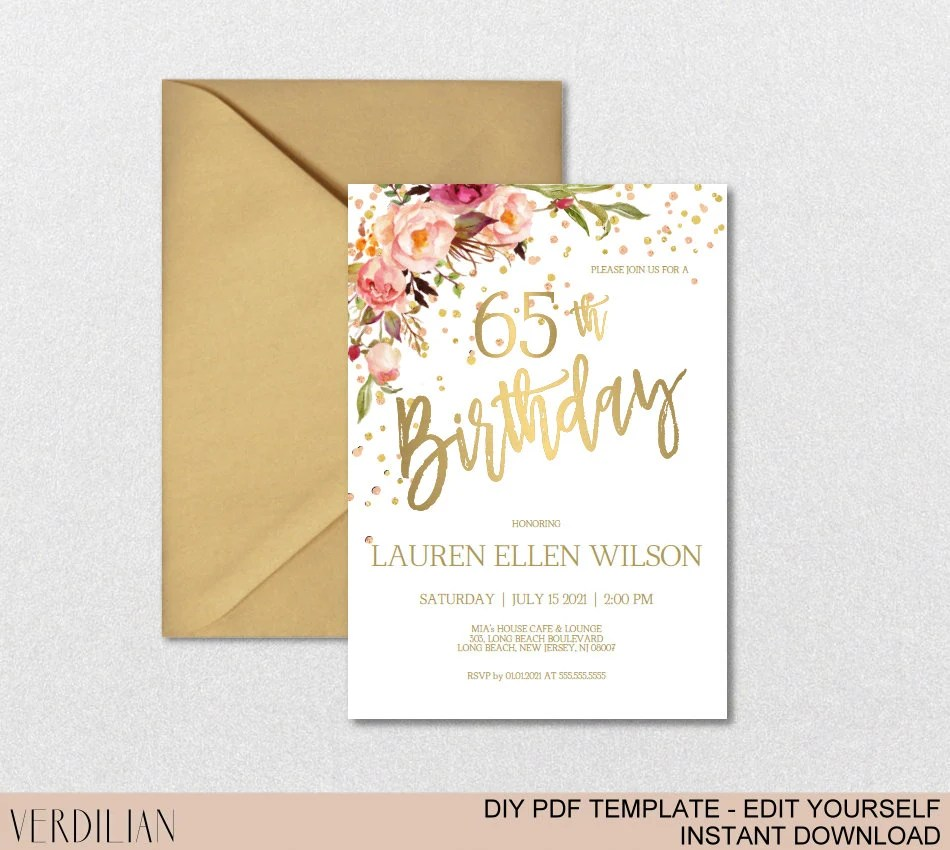 65th birthday invitation blush gold floral birthday party invitation for women diy printable pdf instant download vrd265bwt