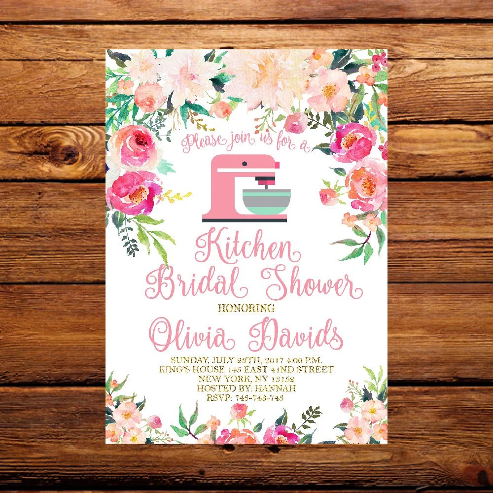 kitchen bridal shower heavy duty chairs floral invitationpantry etsy image 0