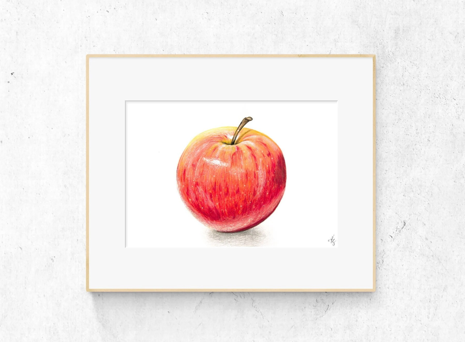 apple art print red