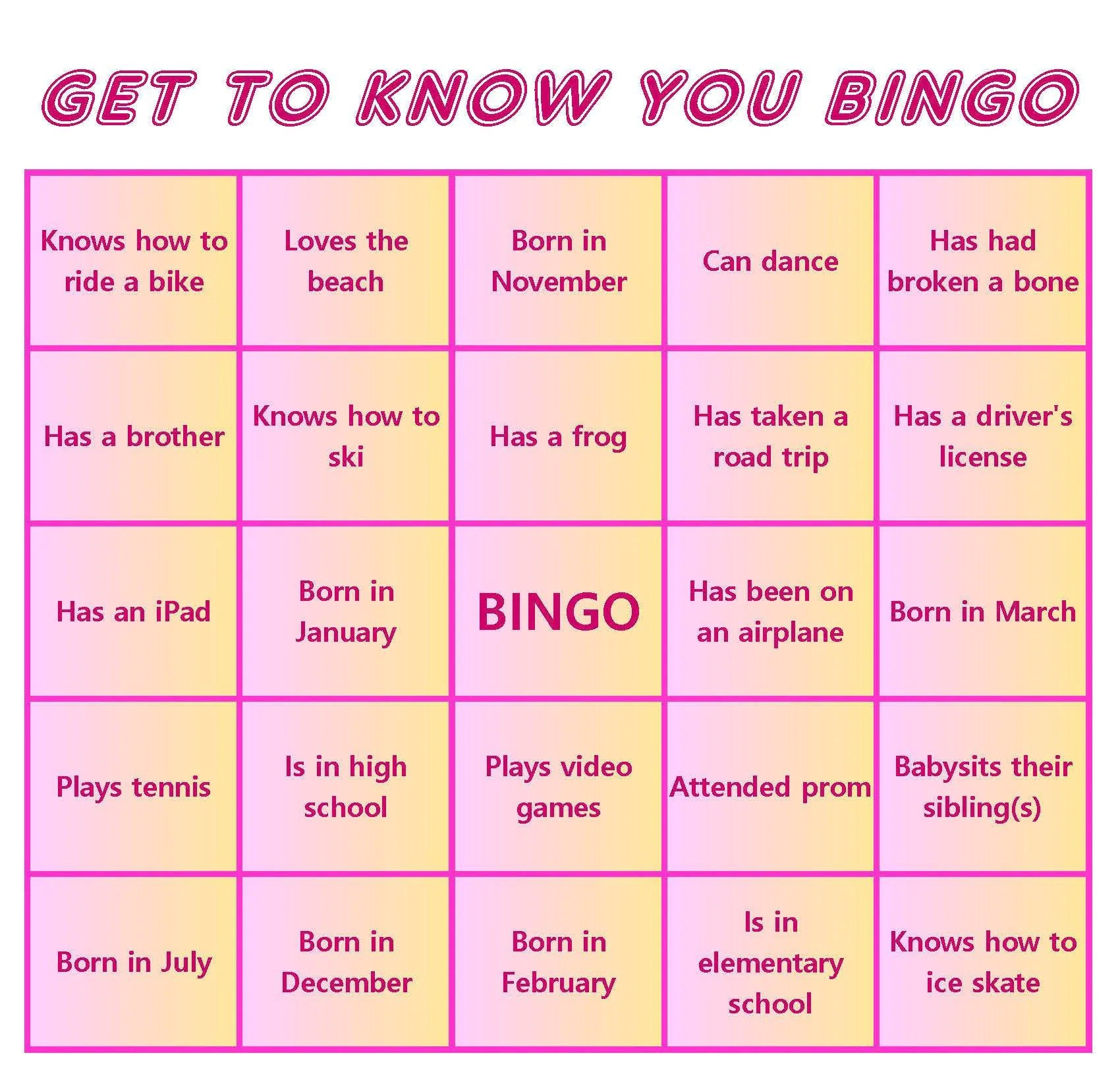 Kid S Get To Know You Bingo Cards Mix Amp Mingle Style