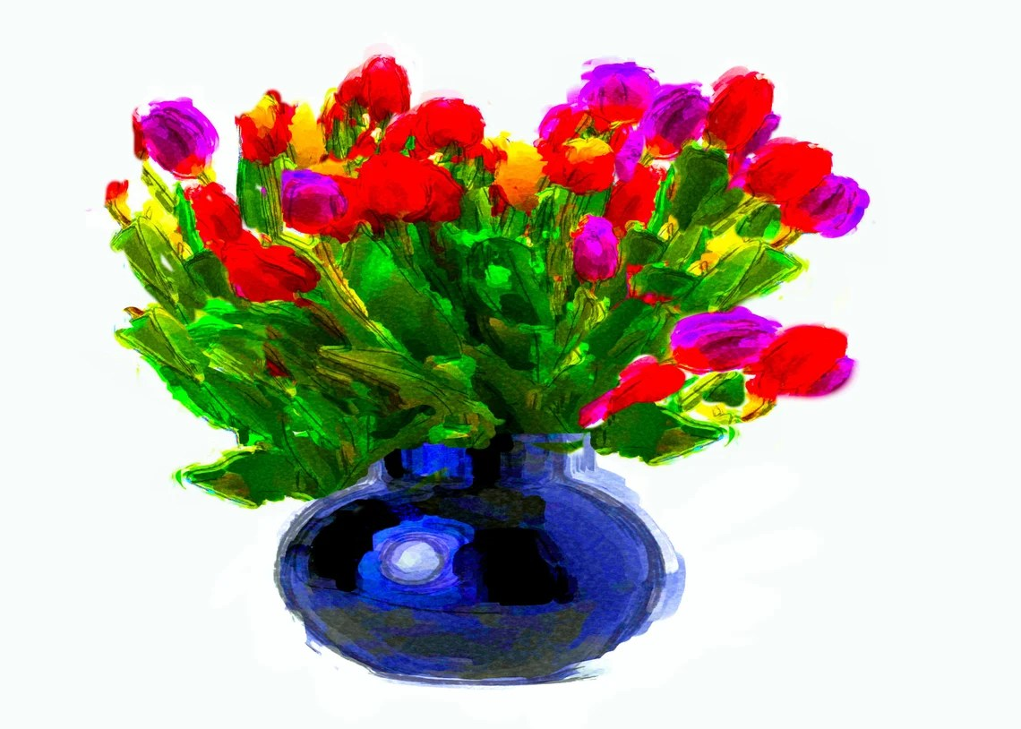 Tulips in a Vase, Birthday, Greeting Card