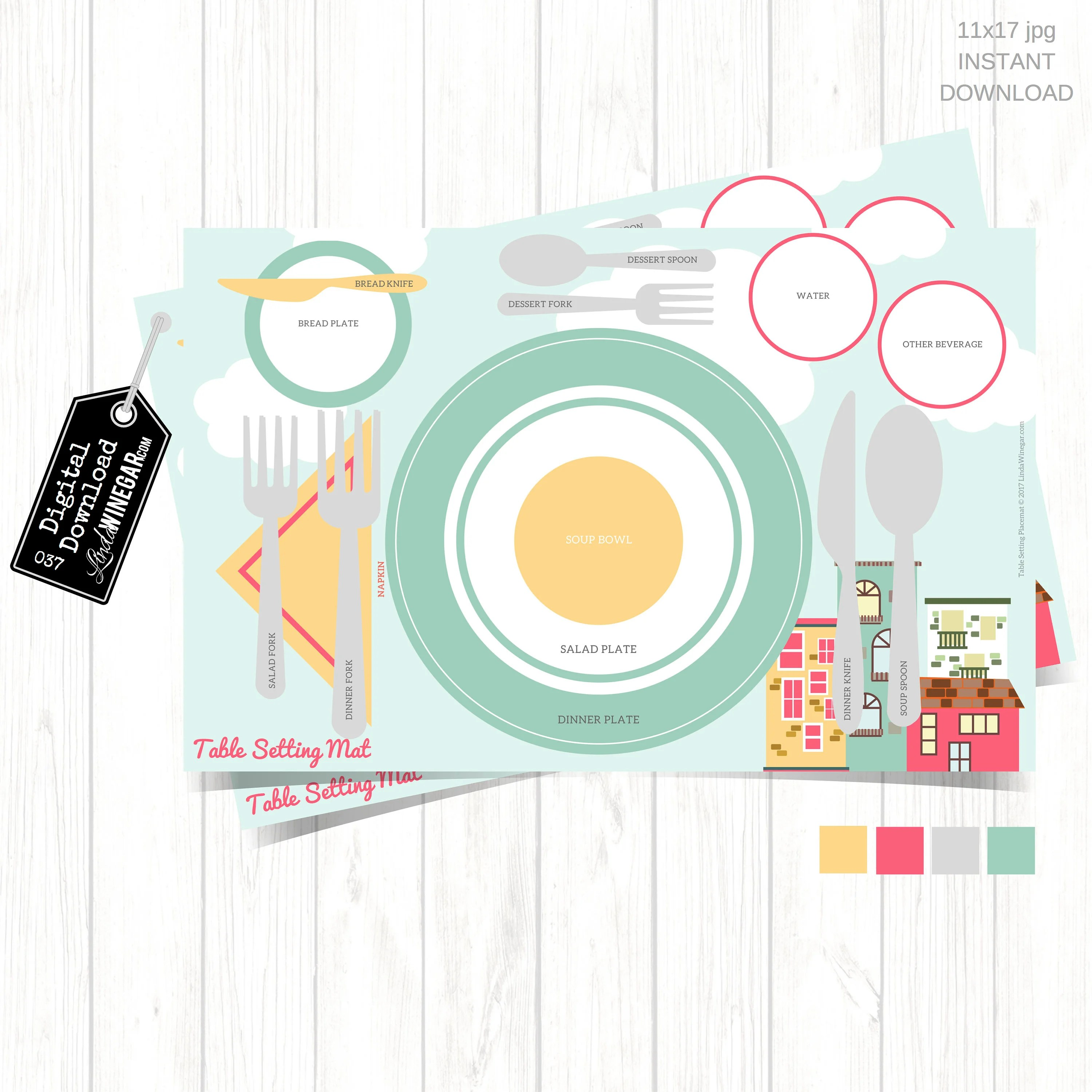 Etiquette Placemat For Teens Table Setting Diagram For