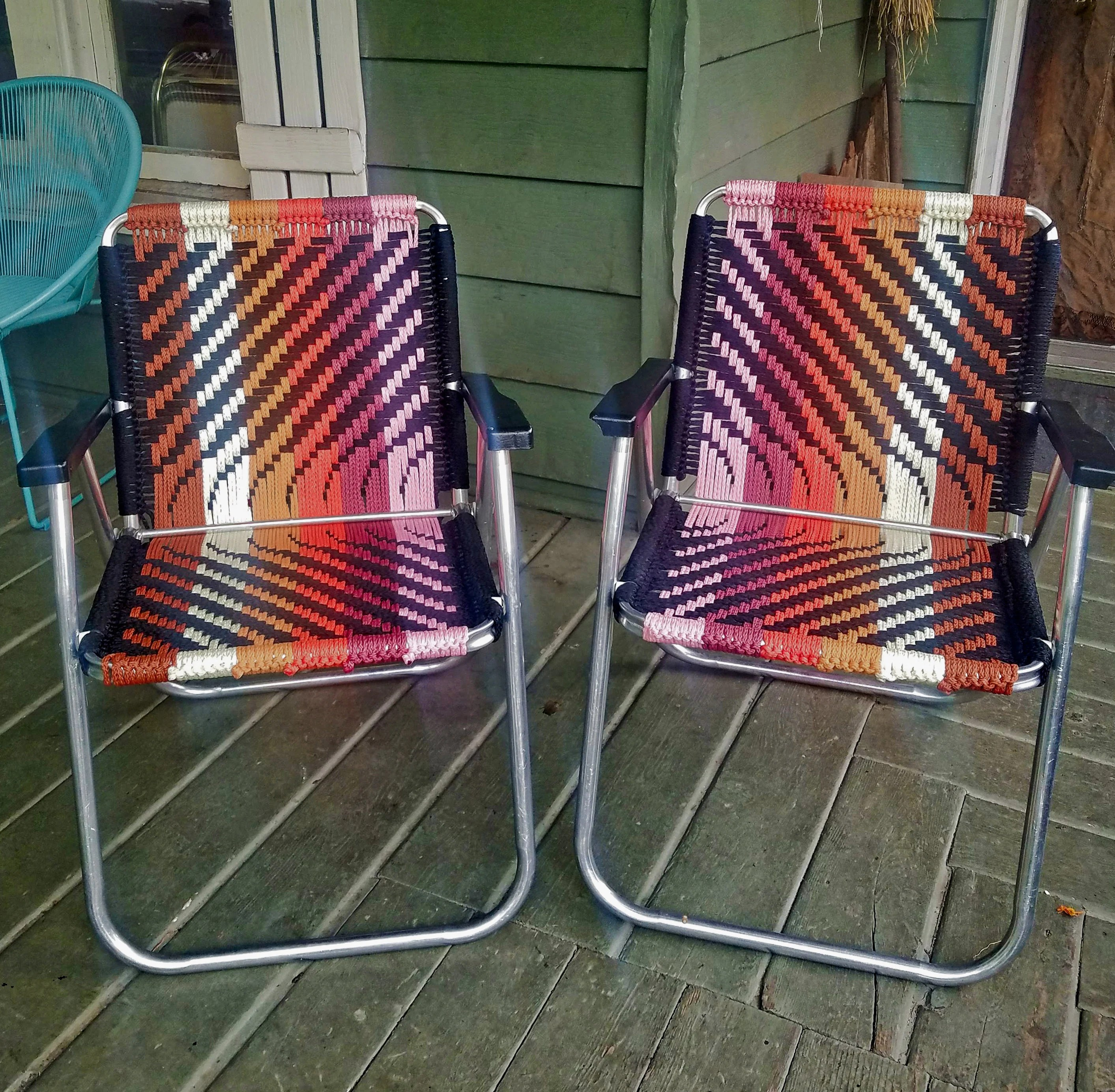 Woven Lawn Chair Custom Hand Woven Macrame Lawn Chair Vintage Folding Camping Chair Weaving Patio Chair Hipster Yard Decor Festival Seat Burner Camp