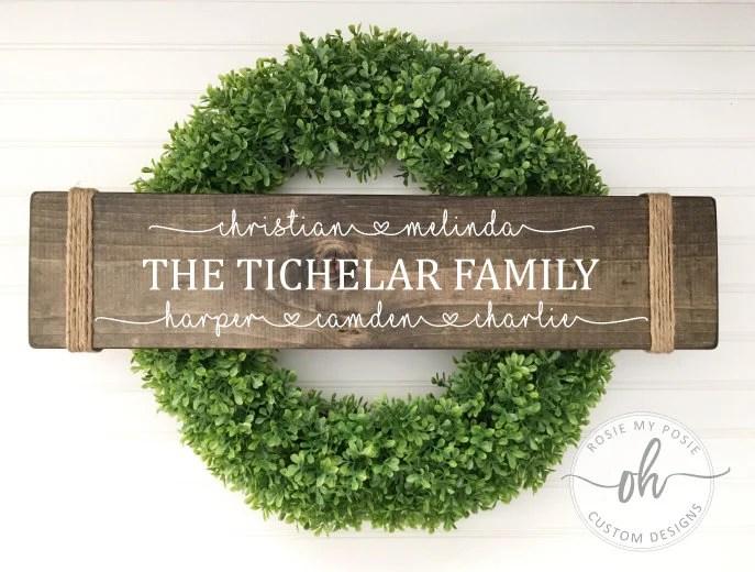custom family sign etsy