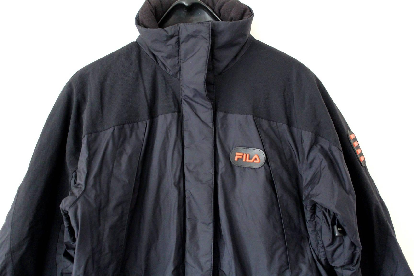 0a0d3c509162 90 S Fila Jacket Vintage Fila Puffer Black Fila Parka Jacket Retro Winter  Fila Windbreaker Hooded Small Fila Coat Hip Hop Streetwear