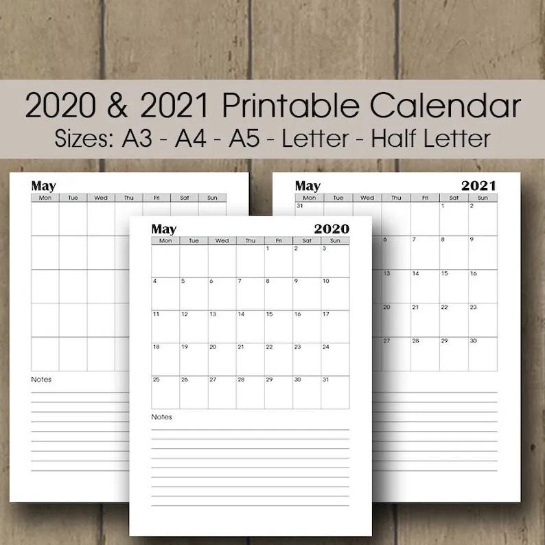 Printable Desk Calendar 2020 A3 Calendar 2020 Planner | Etsy