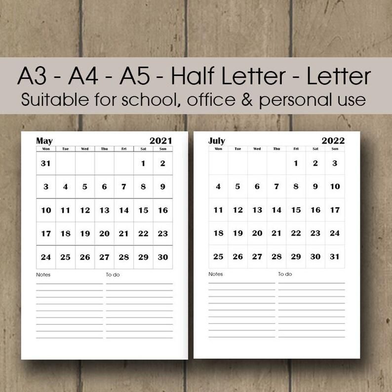 Printable Wall Calendar 2021 A3 Desk Calendar 2021 2022 | Etsy