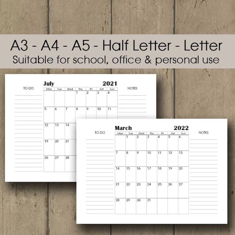 Printable Desk Calendar 2021 A3 Wall Calendar 2021 2022   Etsy