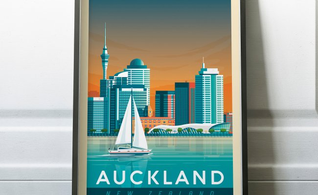 Auckland New Zealand Print Auckland Travel Poster
