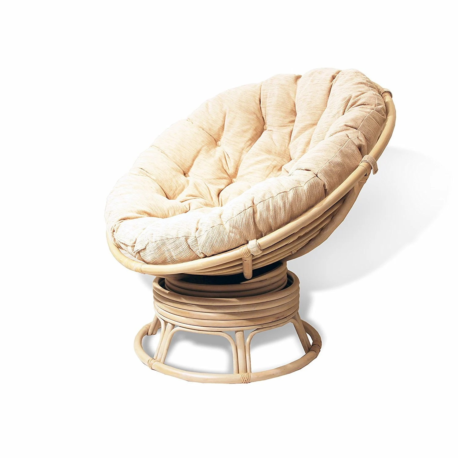 Wicker Swivel Chair Papasan Natural Rattan Wicker Swivel Rocking Round Chair With Cream Cushion White Wash