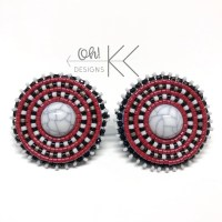 Round Marbled beaded earrings in Black, Red, and Gray