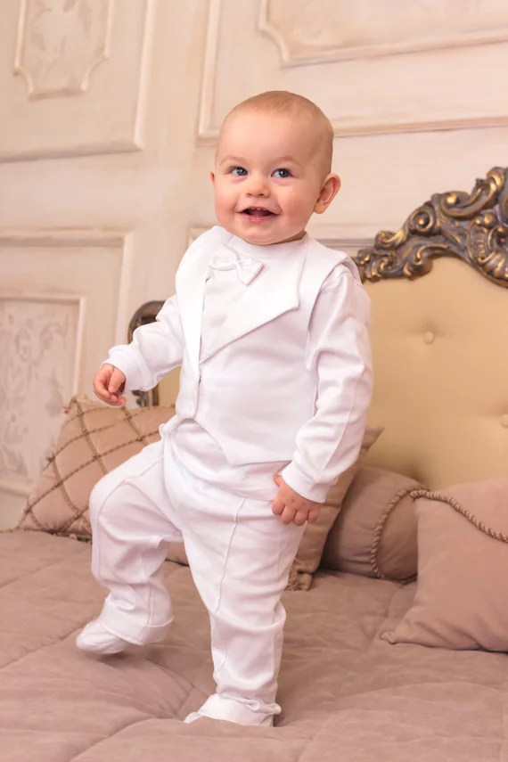 Baby Boy Baptism Outfit Christening Cotton Suit 3-piece Set