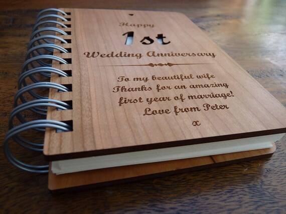 1st Wedding Anniversary Personalised Wooden Notebook