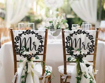 mr and mrs chair signs stand power etsy wedding decoration set wooden sign bride groom