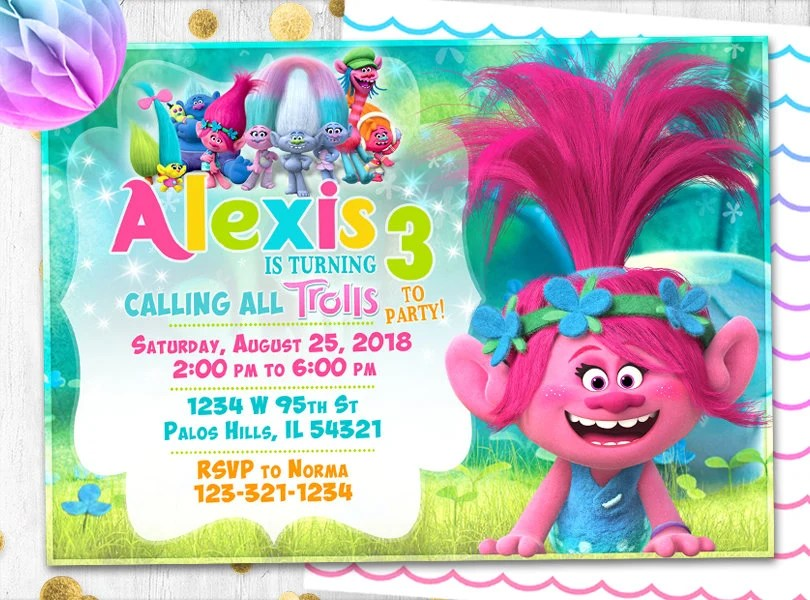 trolls birthday invitation trolls invitation poppy invitation trolls birthday card trolls party trolls invites