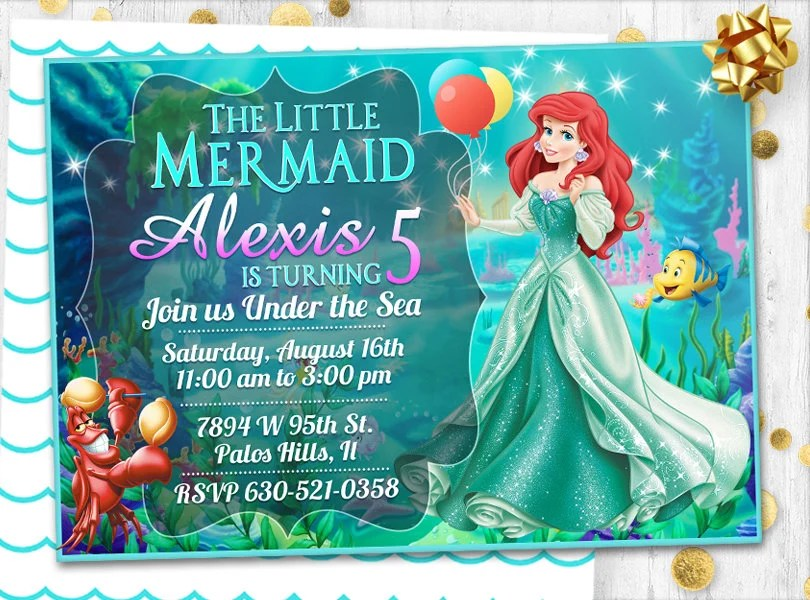 little mermaid birthday invitation card invite mermaid ariel party invitation mermaid dress invitation