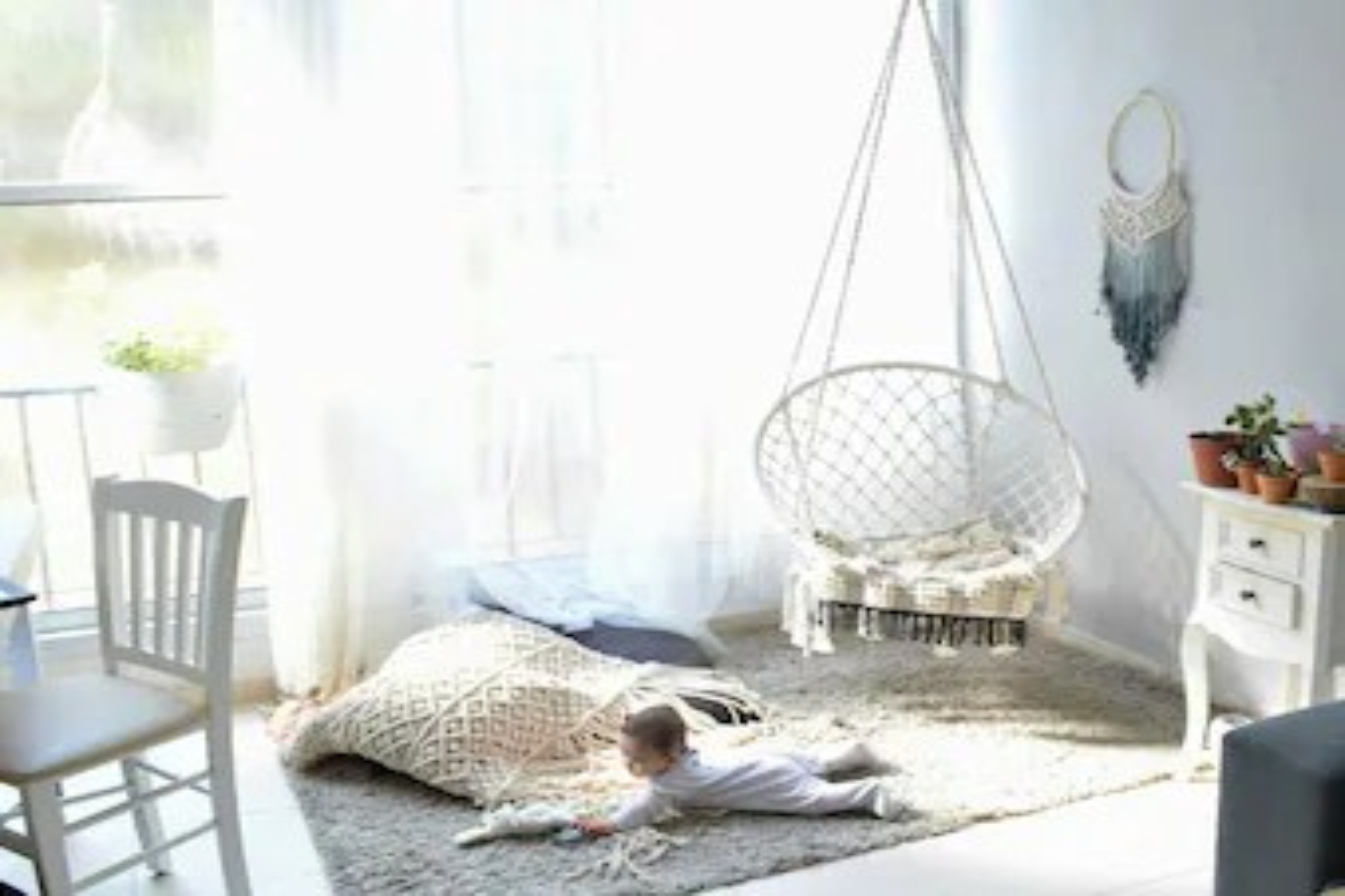 indoor hammock chair outdoor hanging chairs canada etsy macrame mcrame swing boho bohemian baby decor
