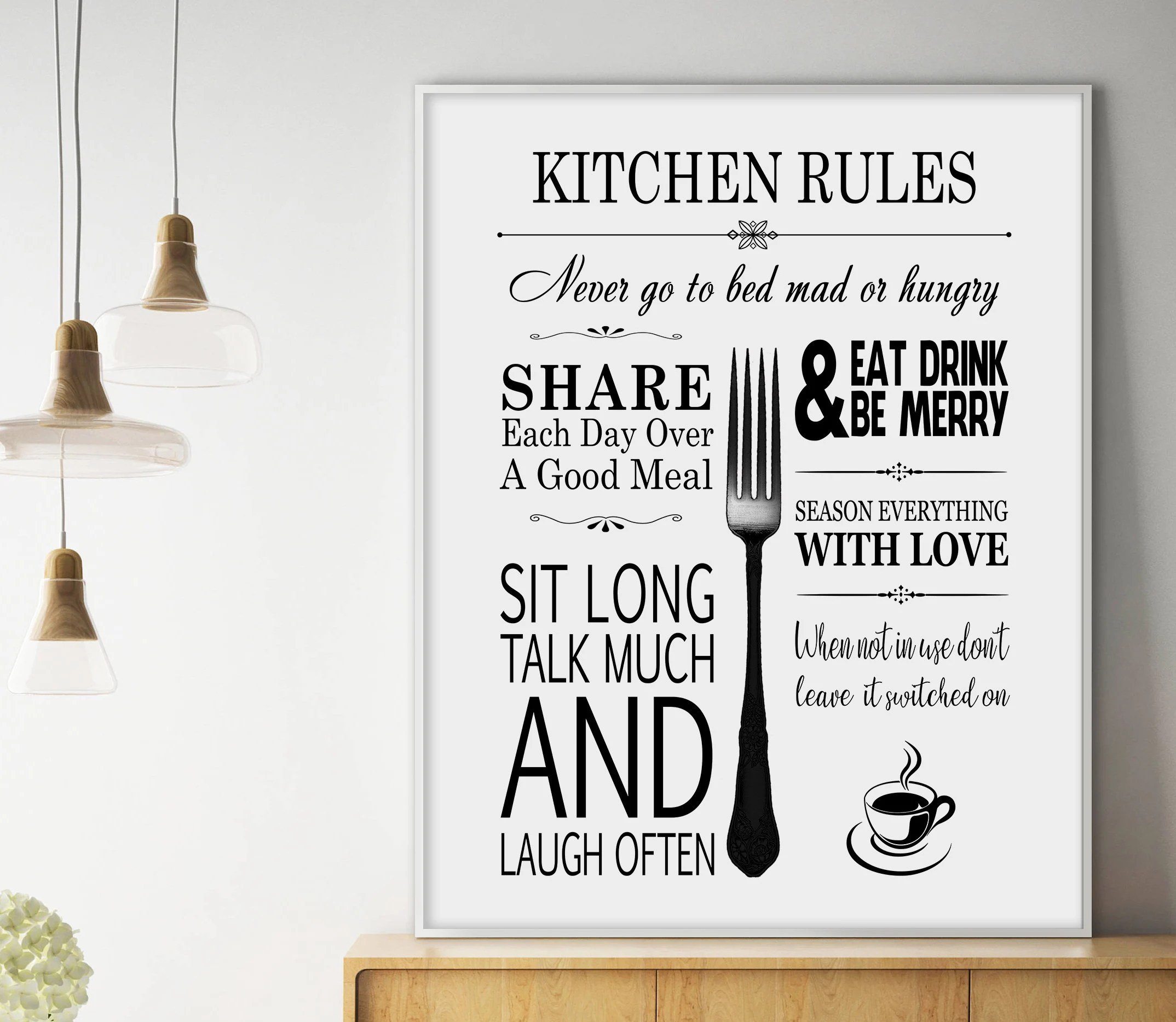 art for kitchen wall update ideas etsy rules sign decor print digital files