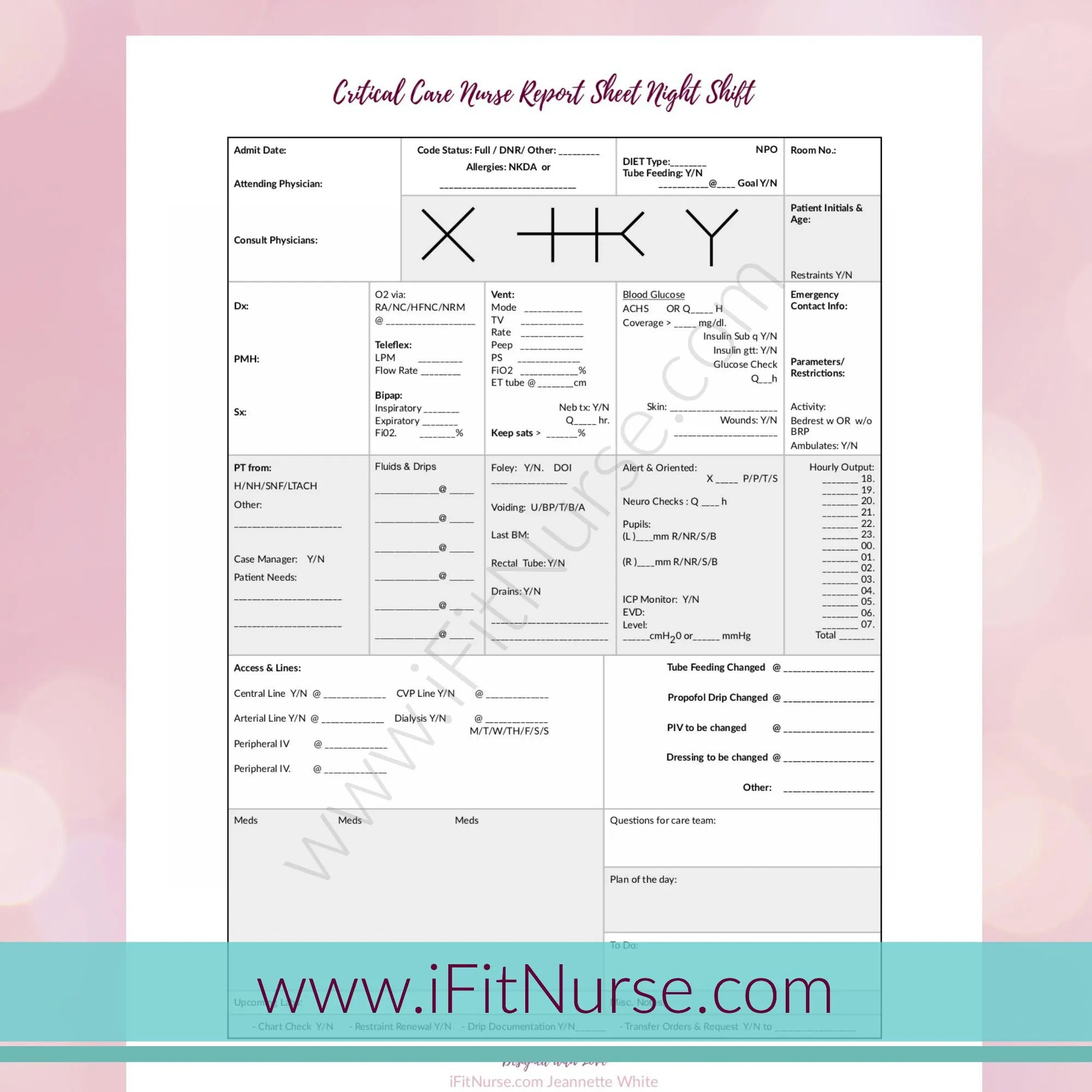 Critical Care Nurse Report Sheet Night Shift V2