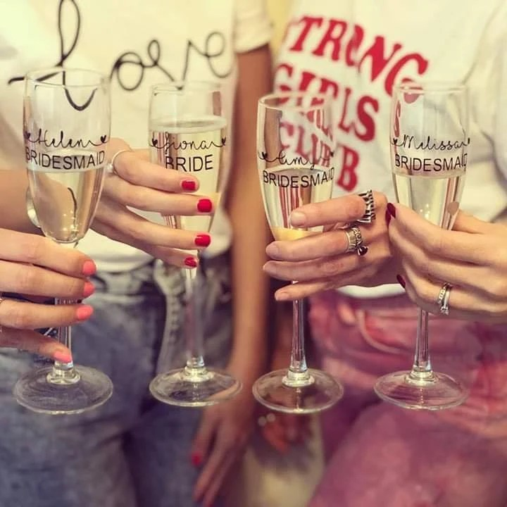 personalised champagne flutes top