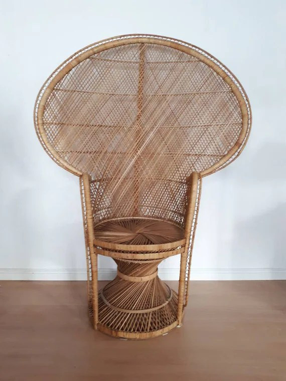 rattan peacock chair corner chairs for sale vintage etsy