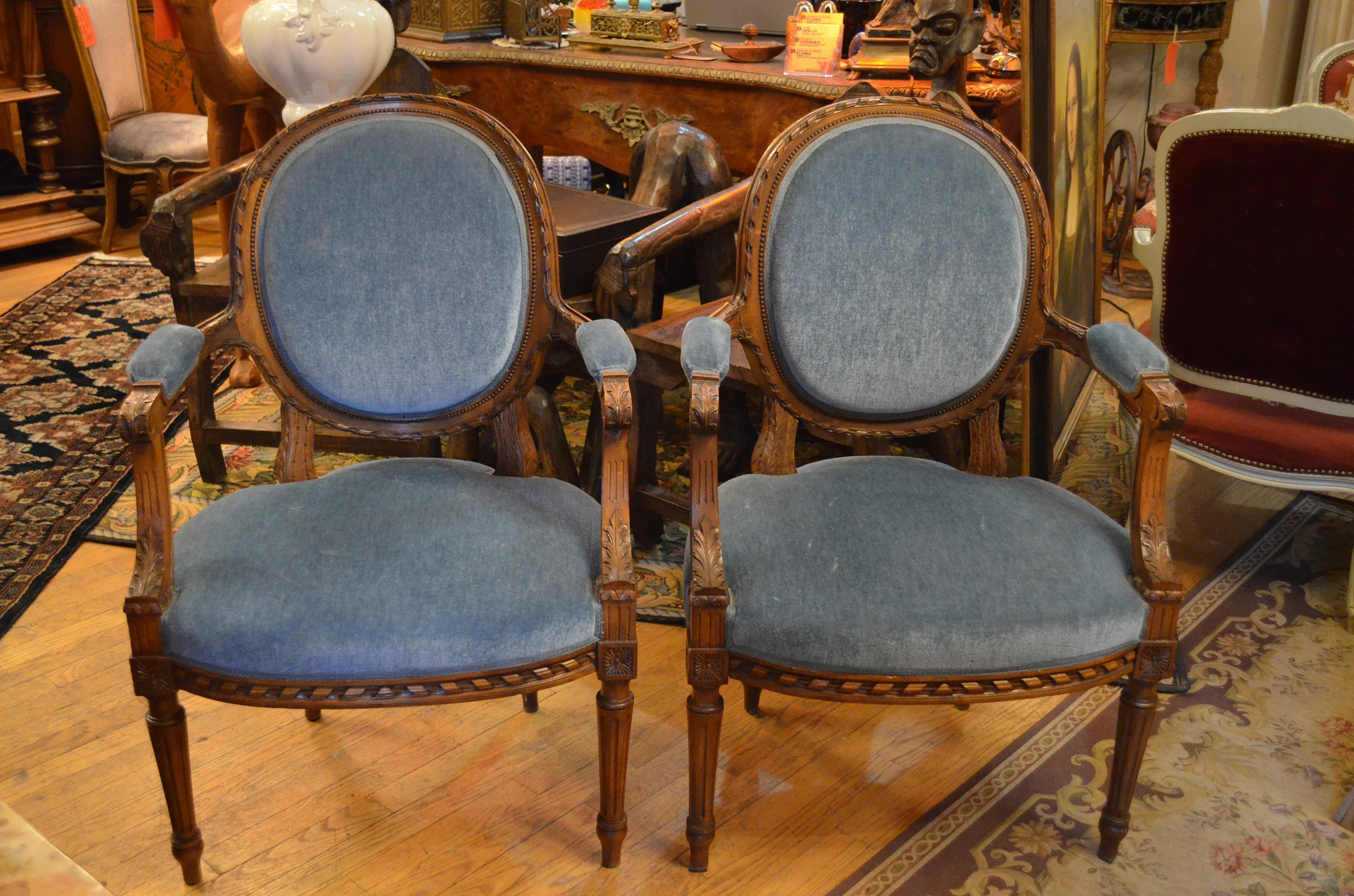 Antique Parlor Chairs Antique Pair Of Victorian Style Hand Carved Parlor Chairs Newly Upholstered In Blue Mohair
