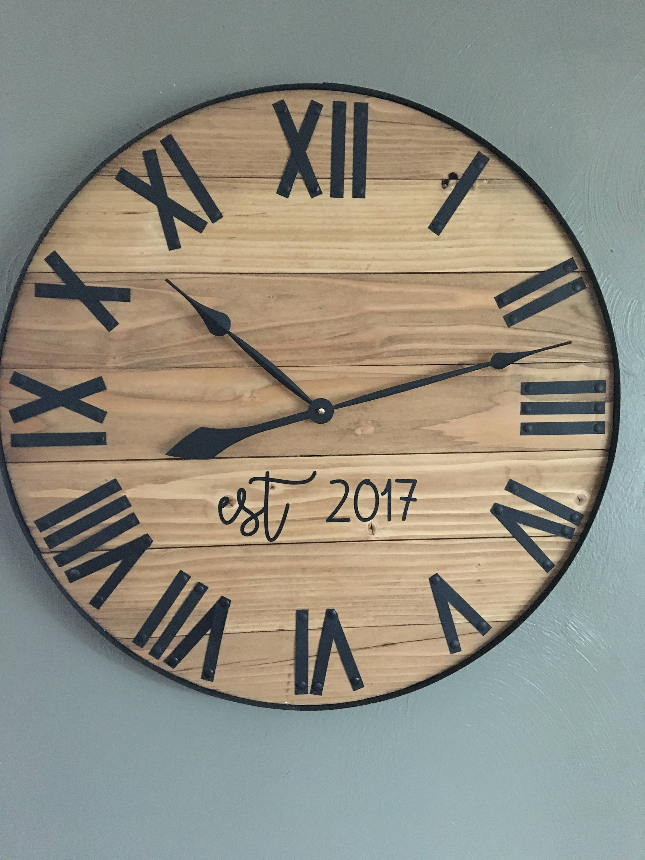 30 Roman Numerals Wood Clock Wall Decor Round Large