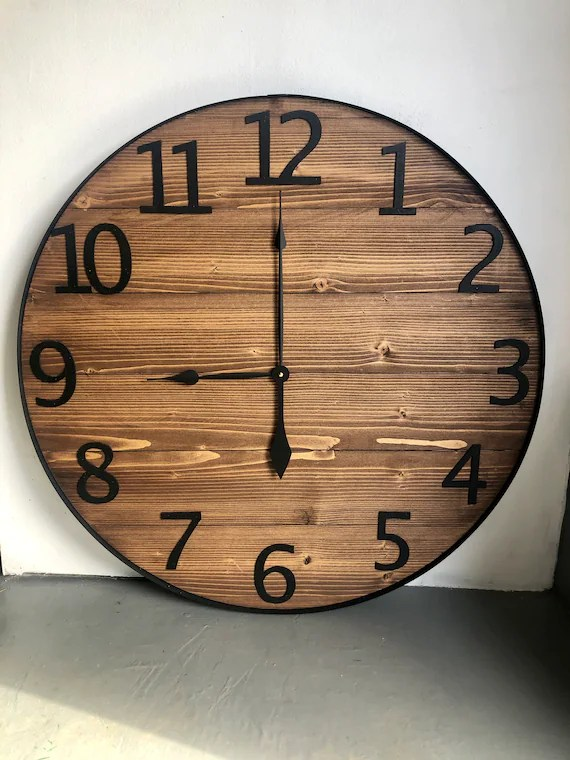 24 Numeric Wall Clock Large Wall Clock Farmhouse Wall Etsy