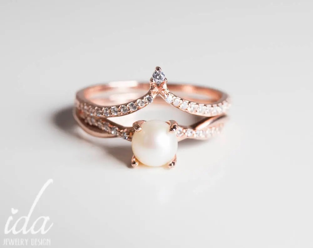 Rose Gold Pearl Engagement Ring Set Womens Rings Rings For  Etsy