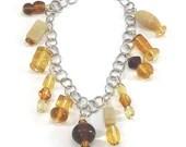 Brown Amber Bead Charm Bracelet / Amber Jewelry / Gifts for Her / Gifts for Mom / Fun Jewelry / Gifts Under 20 / Unique Jewelry