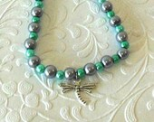 Dragonfly Teal and Silver Pearl Beaded Charm Bracelet