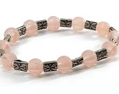 Peach Rose Beaded Stretch Cord Bracelet