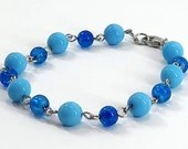 Blue Bubbles Beaded Bracelet